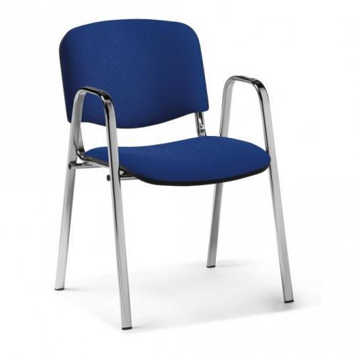 Hygienischer Wartezimmerstuhl mit Armlehnen dunkelblau