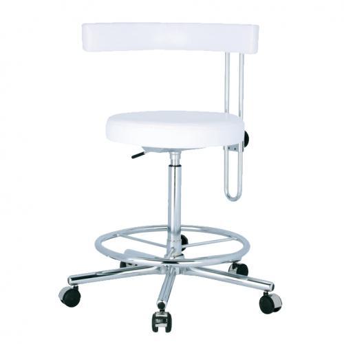 Arbeitsstuhl Dental mit Fußring und höhenverstellbarer Rückenlehne