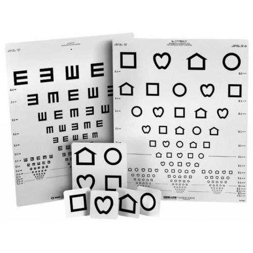Fern Sehtesttafel mit Lea-Symbolen und E-Haken