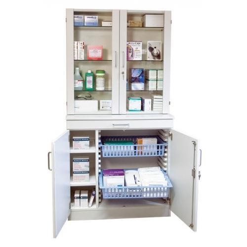 Medikamenten- und Verbandmittelschrank weiß mit Glastüren