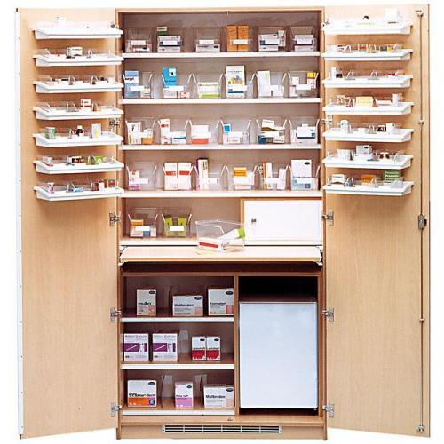 Medikamentenschrank weiß mit Medikamentenkühlschrank