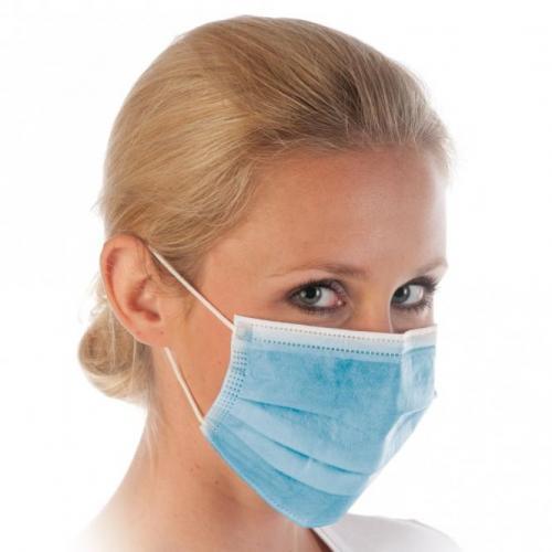 Mundschutz Maske 3- lagig blau mit Gummizug (50 Stck)