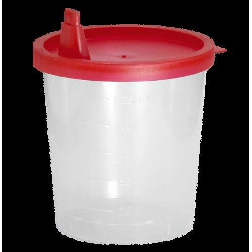 Urinbecher 125 ml mit rotem Schnappdeckel (500 Stck)